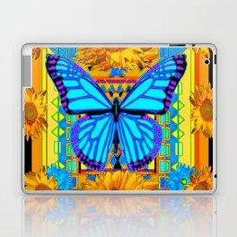 Golden Sunflowers Blue Butterfly black Art Laptop & iPad Skin