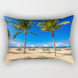 Sunbeds and palm trees on the beach, Sanur, Bali, Indonesia Rectangular Pillow