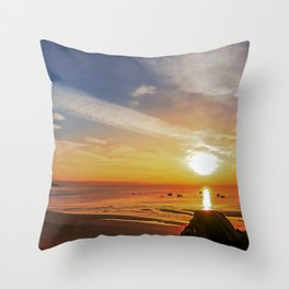 Boating Sunset Throw Pillow