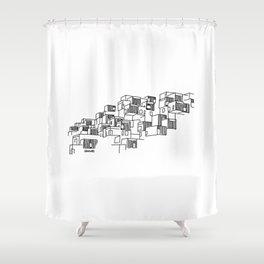 Montréal - Habitat67 - Black Shower Curtain