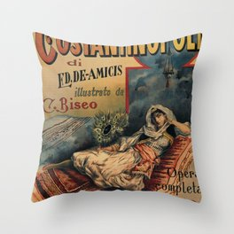 Constantinople Italian vintage book advertisement Throw Pillow