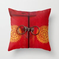 buddhism Throw Pillows featuring Temple Door by Maria Heyens