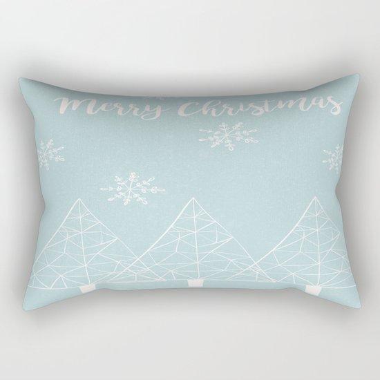 Merry Christmas Mint Rectangular Pillow