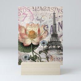 french scripts lotus floral vintage paris eiffel tower Mini Art Print