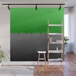 Bright Green to Gray Ombre Flames Wall Mural