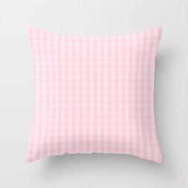 Light Soft Pastel Pink Gingham Check Plaid Throw Pillow