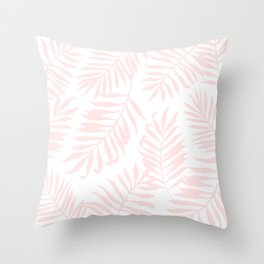 Tropical Palm Leaves - Pink Throw Pillow