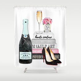 Champagne, pink ,Teal, books ,shoes, peonies ,Peony, Fashion illustration, Fashion ,Aman Shower Curtain