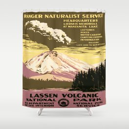 Vintage poster - Lassen Volcanic National Park Shower Curtain