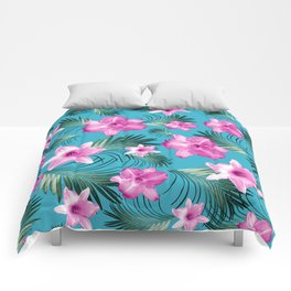 Tropical Flowers Palm Leaves Finesse #3 #tropical #decor #art #society6 Comforters