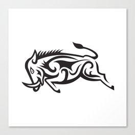 Wild Boar Charging Tribal Art Canvas Print