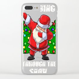Dabbing Santa and Reindeers 2017 Clear iPhone Case
