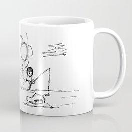 Man at Lost Island ArtLine Style Coffee Mug