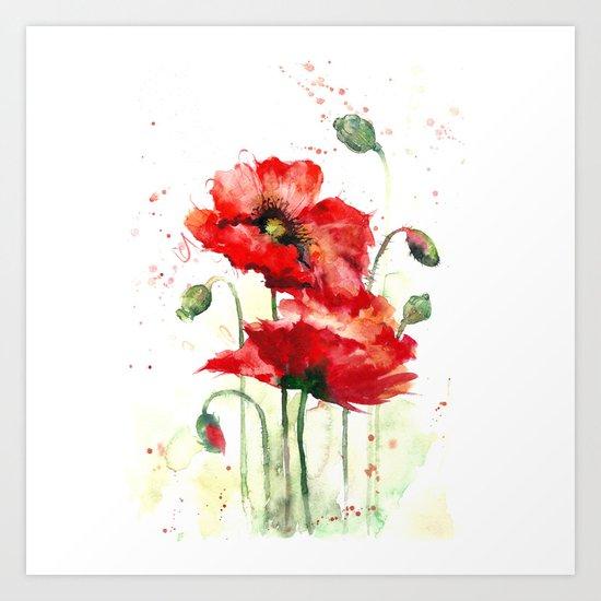 Watercolor flowers of aquarelle poppies Art Print