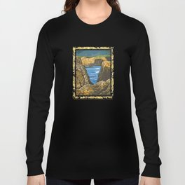 ORANGE AND BLUE PEACEFUL SEASCAPE STYLIZED OIL PAINTING  Long Sleeve T-shirt