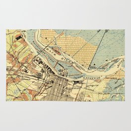 Vintage Map of Savannah Georgia (1942) Rug