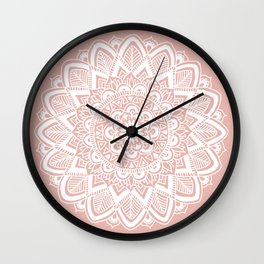 Boho White Mandala on Rose Gold Wall Clock