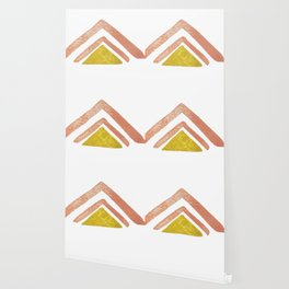 Pink and Yellow Boho Triangles Wallpaper