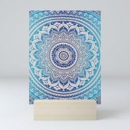 Teal And Aqua Lace Mandala Mini Art Print