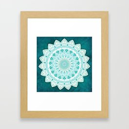 White Mandala on Blue Green Distressed Background with Detail and Textured Framed Art Print