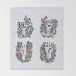 LOVE ASL Art- square version Throw Blanket