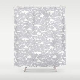 Mountain Scene in Grey Shower Curtain