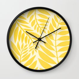 Golden Yellow Leaves Wall Clock