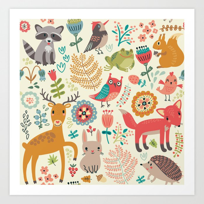 Woodland Animal Pattern Kunstdrucke