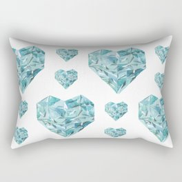 Watercolor Aquamarine Crystal Heart Rectangular Pillow