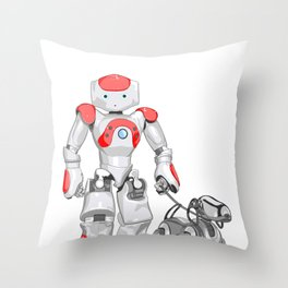 The Dog Walker. (Red) Throw Pillow