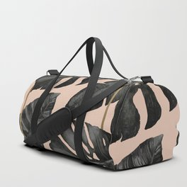 Classic Tropical Palm Leaves Powder Pink and Gold Duffle Bag