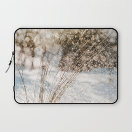 Beach Grass In Snow Photo | Atmospheric Photography | Glittering Snowflakes And Beach Grass Laptop Sleeve