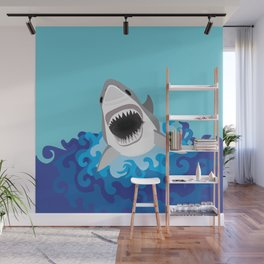 Great White Shark Attack Wall Mural