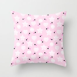 Baby pink pattern with stars and hearts Throw Pillow