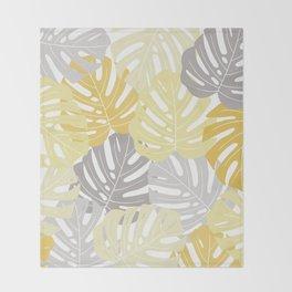 Yellow monstera deliciosa leaves Throw Blanket