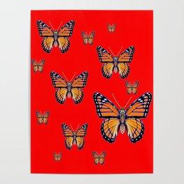 RED ART MONARCH BUTTERFLIES Poster