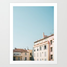 Pretty pretty Cannes | Pastel colored apartment buildings in the South of France Art Print