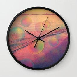 Colorful Summer Dream (California Beach in Rainbow Colors) Wall Clock