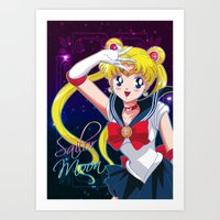 sailor moon Art Prints featuring Sailor Moon  by Neo Crystal Tokyo