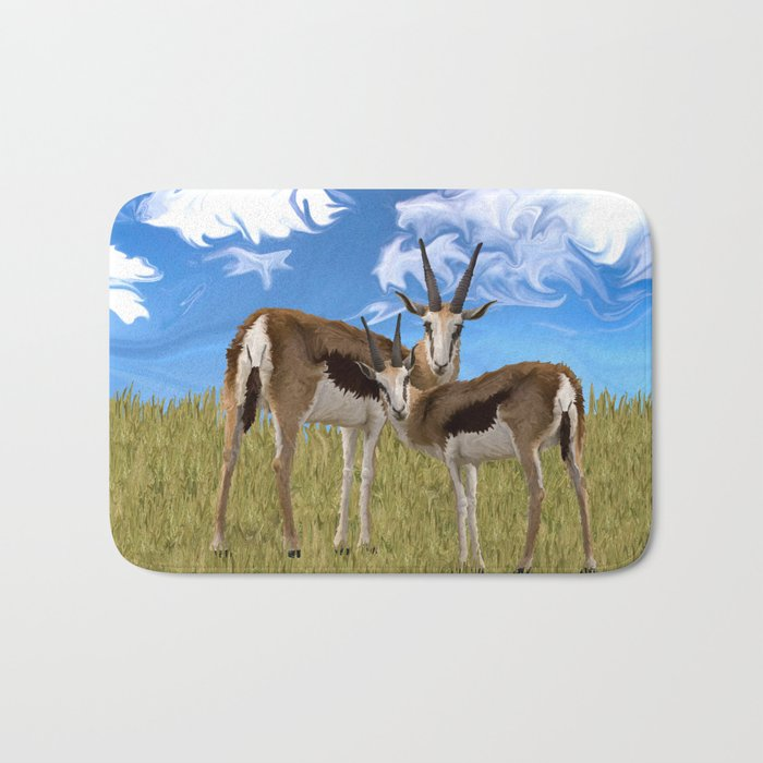 Grazing Gazelles Bath Mat