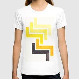 Yellow Ancient Aztec Pattern Mid-century Modern Simple Geometric Pattern Watercolor Minimalist Art S T-shirt