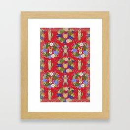 Khokhloma Forest Animals Framed Art Print
