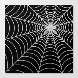 Spiderweb | Silver Glitter Canvas Print