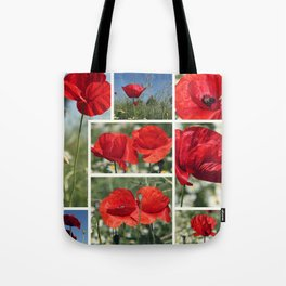 Poppies Collage Tote Bag