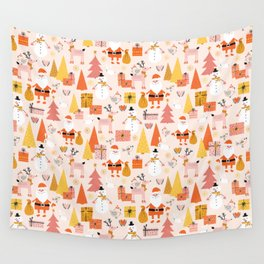 Santa, Snowman and Bunny Scale Wall Tapestry