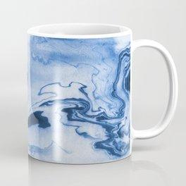 Chiharu - spilled ink marble paper marbling texture swirl indigo water ocean nature pool wave tide Coffee Mug