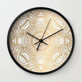 Gold Ethnic Pattern With Mandalas Wall Clock