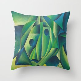 Cubist Abstract Of Village Woman Wearing A Headscarf Throw Pillow