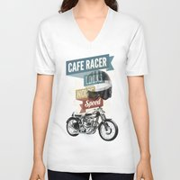 cafe racer V-neck T-shirts featuring cafe racer by Liviu Antonescu