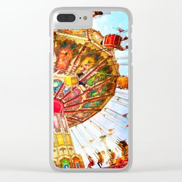 Vintage retro, bright, colorful carnival swing ride Clear iPhone Case